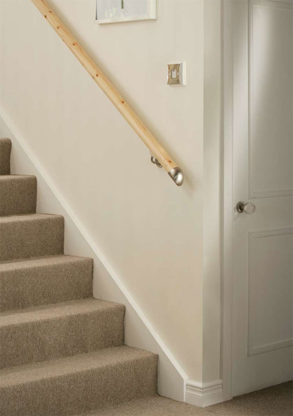 Stair banister wall mounted lambs tongue handrails for Handrails for stairs