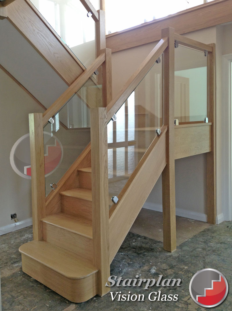Oak Staircases With Glass Barade