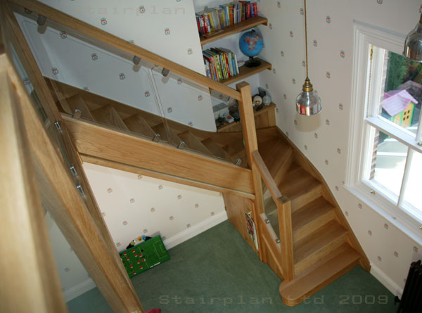 Oak Winder Staircase with stairplan's Vision Balustrade